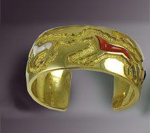 Gold Inlaid Horse Bracelet