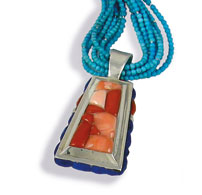 Reversible Wedge Pendant with Turquoise Beads
